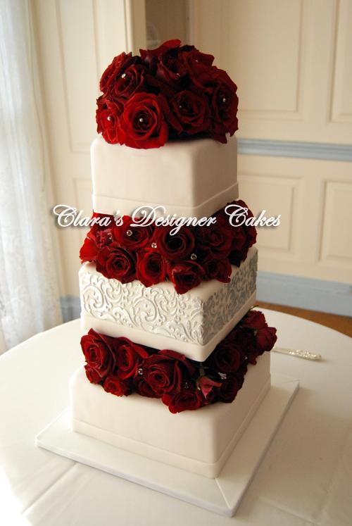 10 Elegant Wedding Cakes With Red Roses Photo Wedding Cake With