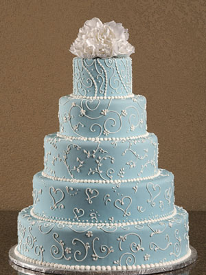 12 5 Tier Elegant Blue Wedding Cakes Photo Round White Elegant