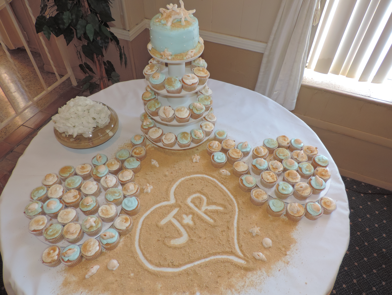 7 Beach Wedding Cake And Cupcakes Photo Beach Wedding Cake And