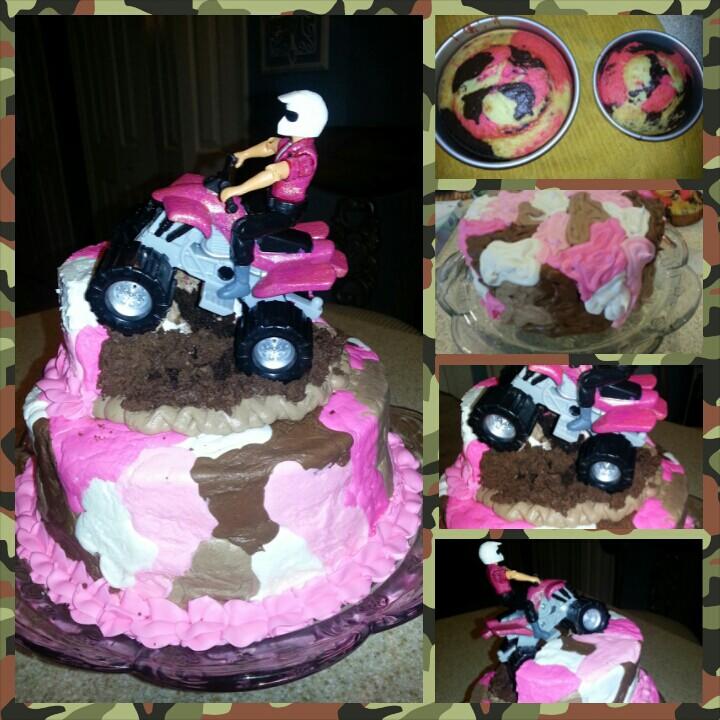 Pink Camo 4 Wheeler Birthday Cake