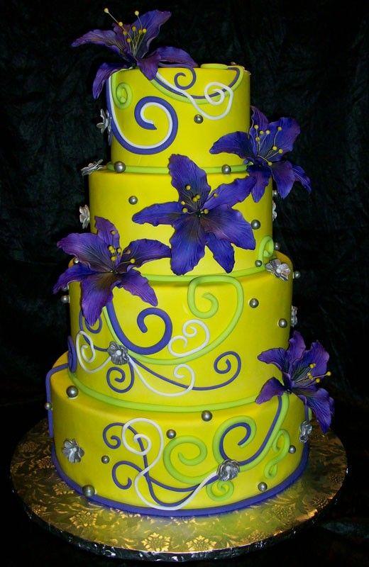 7 Cake Boss Wedding Cakes Purple And Yellow Photo - Purple and ...