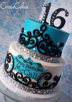 Sweet 16 Cakes Blue And White