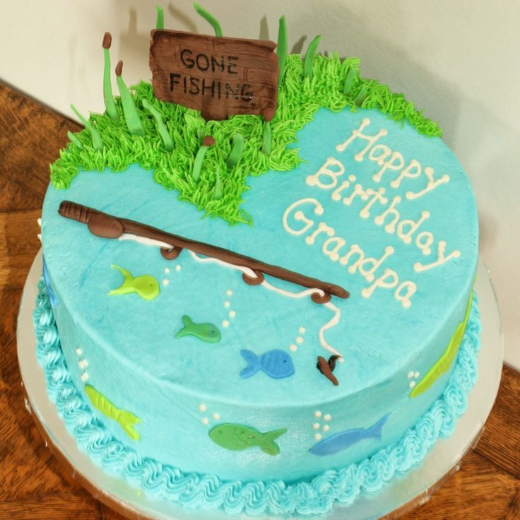 Incredible 10 Fish Birthday Cakes For Ch Photo Gone Fishing Birthday Cake Funny Birthday Cards Online Alyptdamsfinfo