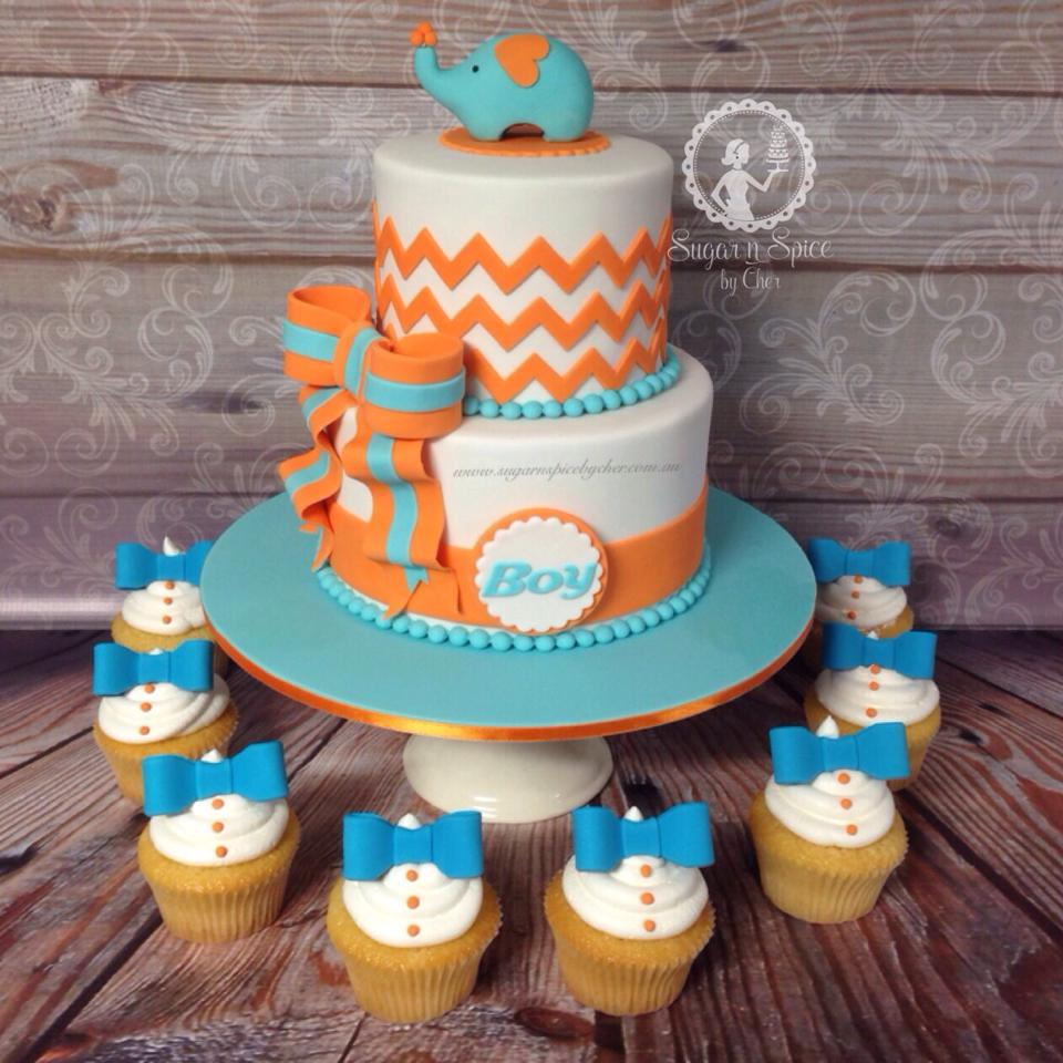 11 Baby Boy Orange And Blue Cakes Photo Pinterest Baby Shower