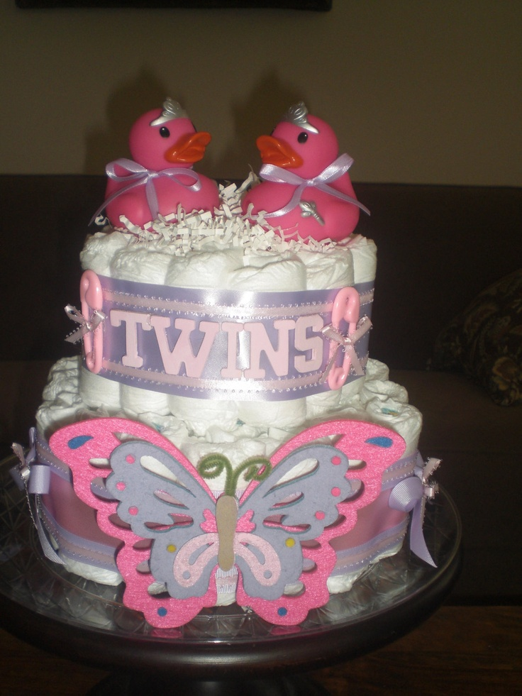 6 Twin Baby Shower Diaper Cakes Photo Twin Baby Shower Diaper Cake