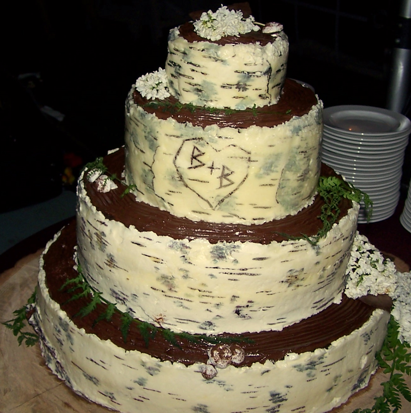 Birch Tree Bark Wedding Cake