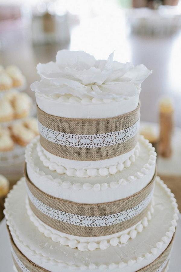 13 Burlap With Elegant Wedding Cakes Photo Burlap And Lace Wedding