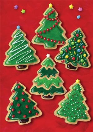 christmas tree decorating sugar cookies