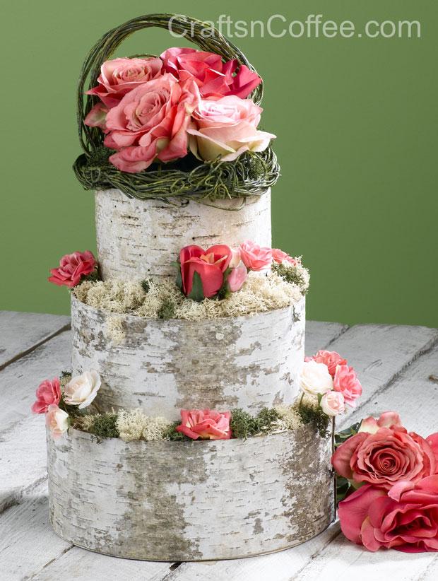 how to make tree bark wedding cake