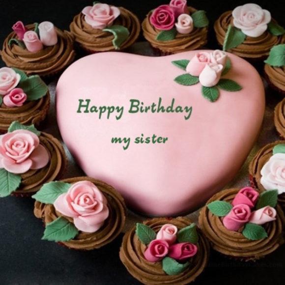 Pleasing 10 Sister Happy Birthday Beautiful Cakes Photo Happy Birthday Funny Birthday Cards Online Ioscodamsfinfo