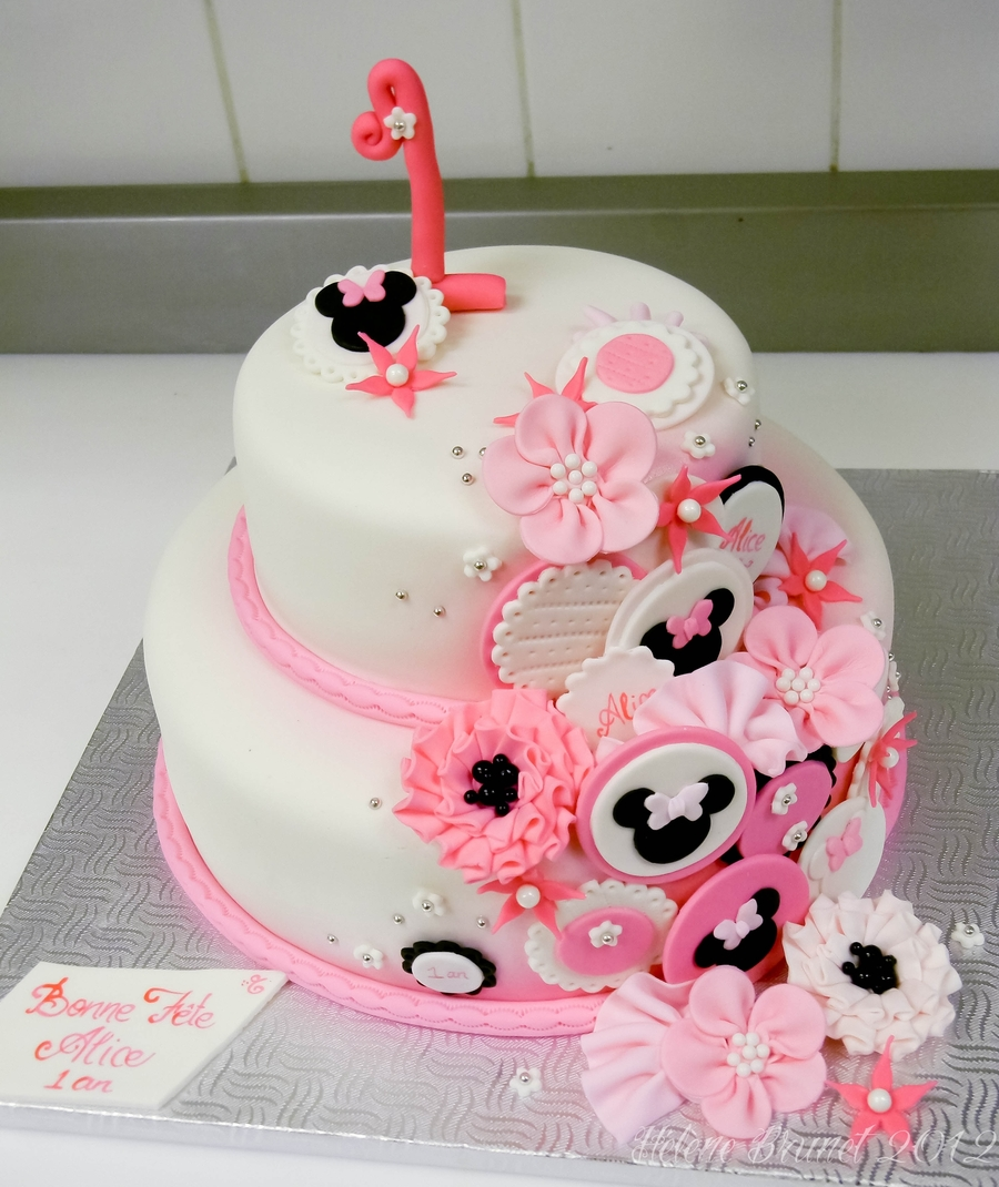 Terrific 9 Minnie Mouse Birthday Cakes 1 Photo Minnie Mouse First Funny Birthday Cards Online Alyptdamsfinfo