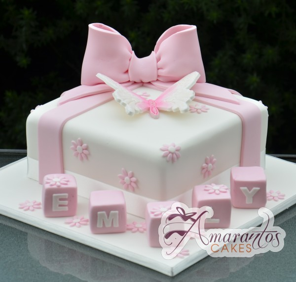 Square Birthday Cake With Butterflies