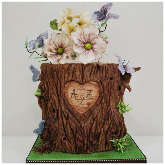 6 Bark Decorations For Cakes Photo Tree Bark Wedding Cake Birch - Tree Trunk Wedding Cake