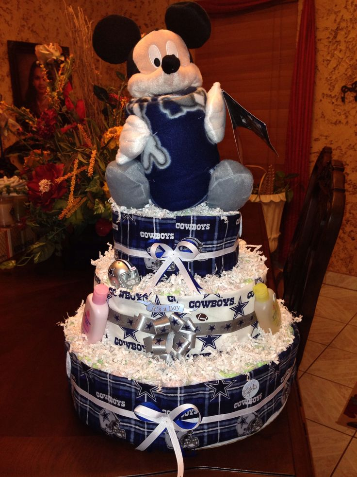 Dallas Cowboys Baby Shower Diaper Cake