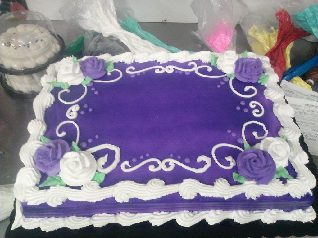 8 Purple Birthday Sheet Cakes Photo Purple And White Birthday