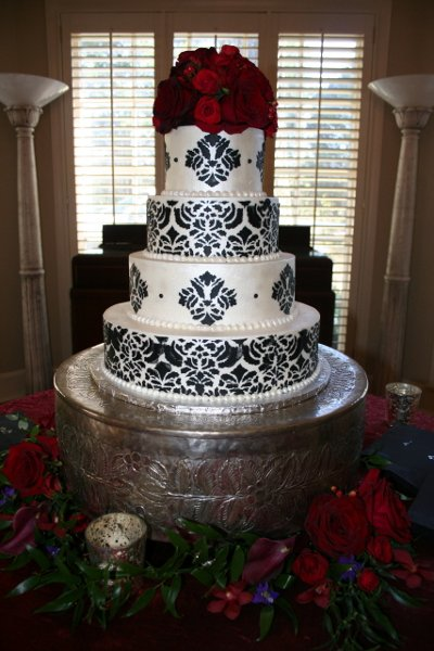 6 Wedding Cakes Red Black And White Stencil Photo - Red and White ...