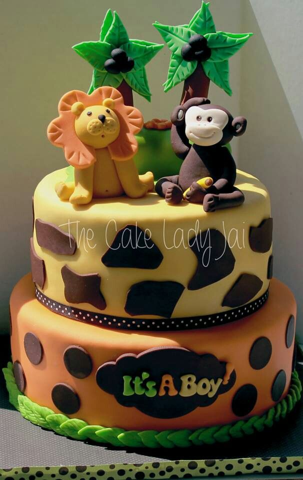 6 Safari Baby Shower Square Cakes Photo Safari Baby Shower Cake