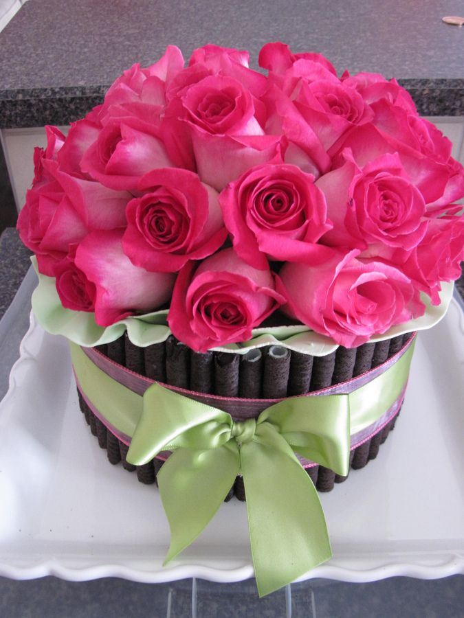 Birthday Cake With Fresh Flowers