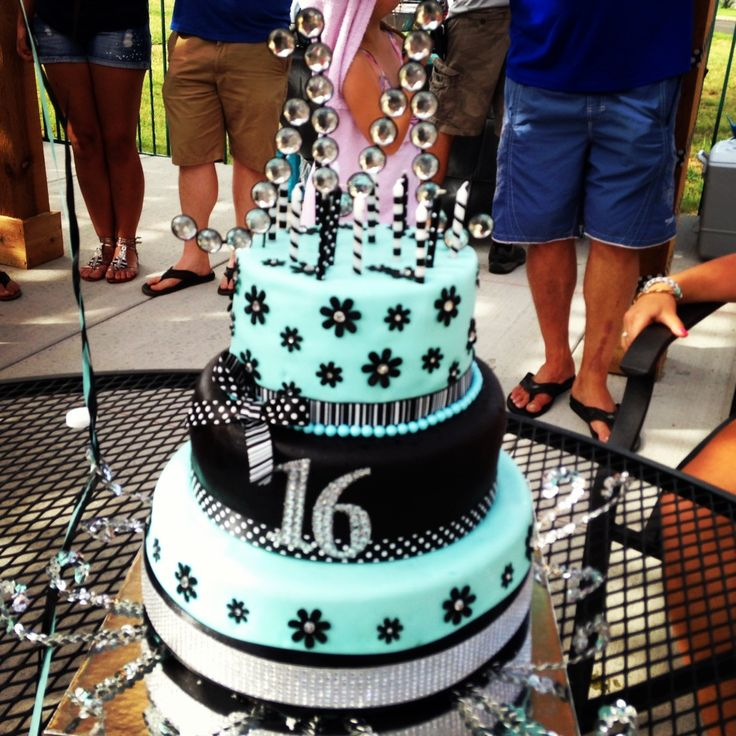 7 Teal Blue Sweet 16 Birthday Cakes Photo Blue Sweet 16 Birthday