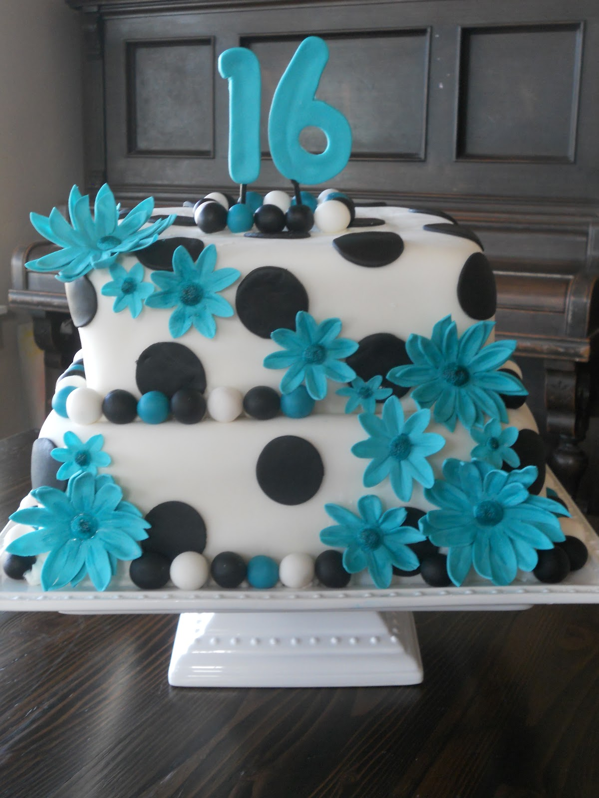 13 Squares In Aqua And Black Sweet 16 Cakes Photo Light Blue And