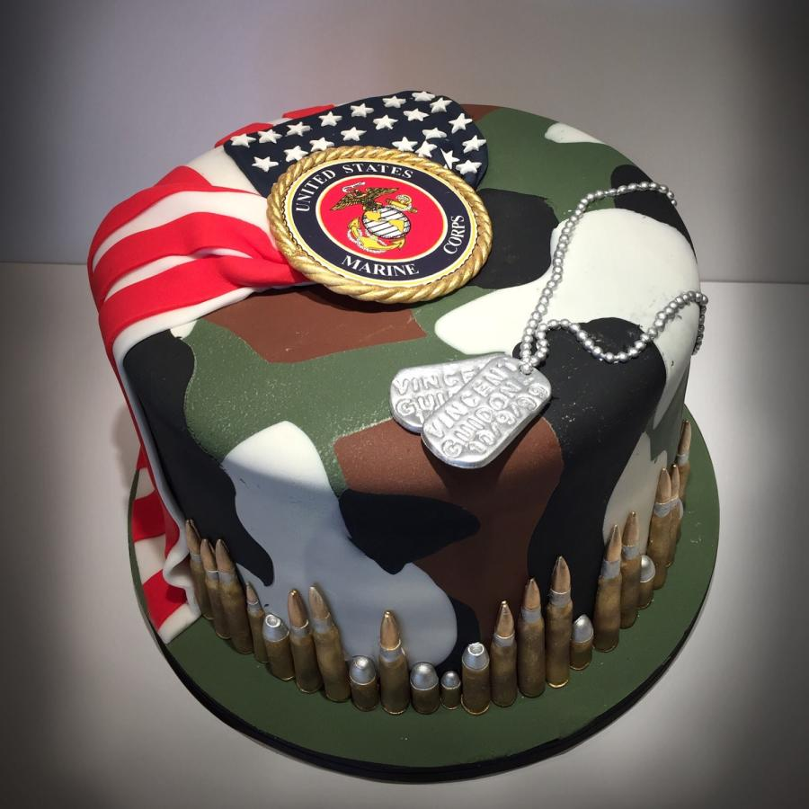 Amazing 10 Fondant Birthday Cakes Marines Photo Marine Corps Birthday Birthday Cards Printable Trancafe Filternl