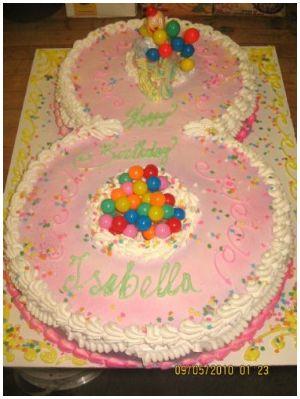 Number 8 Shaped Birthday Cake