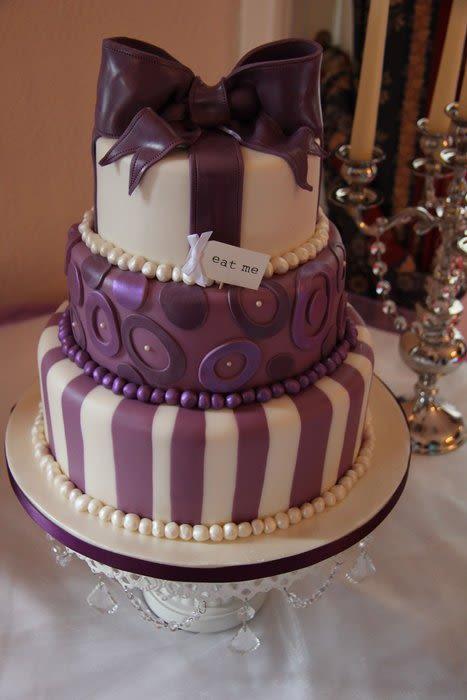 8 Cream And Purple Wedding Cakes Photo - Purple and Cream Wedding ...