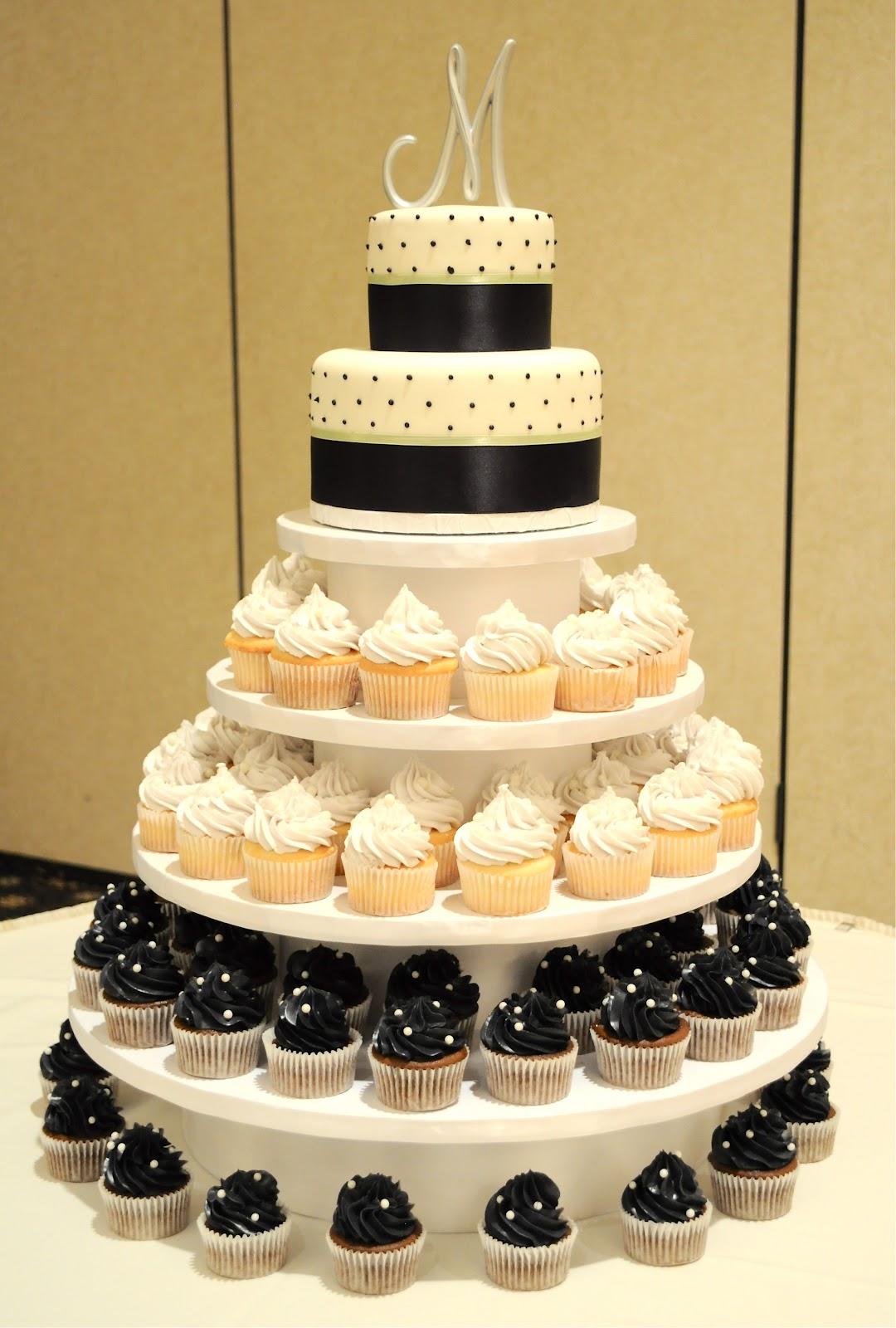 12 Cake With Cupcakes Around It Photo Wedding Cakes With Cupcakes