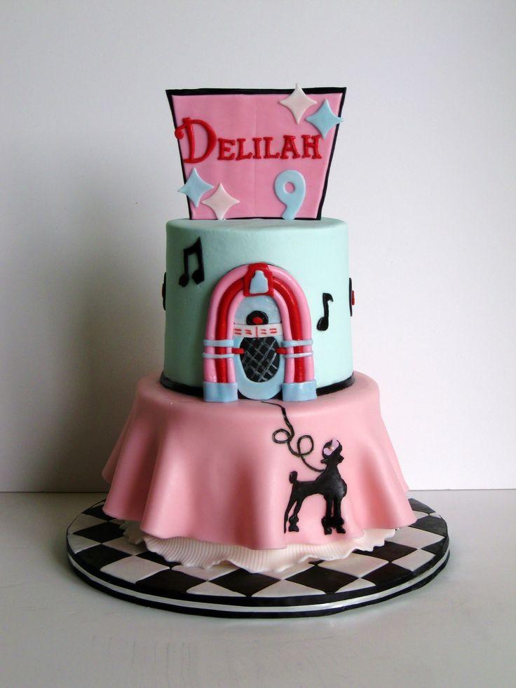 1950s Poodle Skirt Birthday Cake Girl
