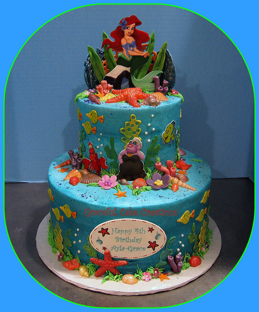 Miraculous 10 Birthday Cakes Com Little Mermaids Photo Ariel Little Funny Birthday Cards Online Alyptdamsfinfo