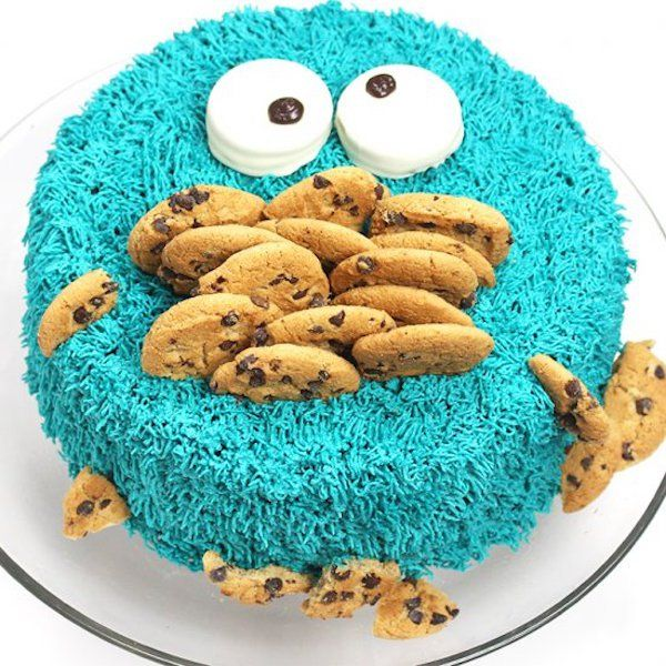 Easy Kids Birthday Cakes Via Cookie Monster Cake