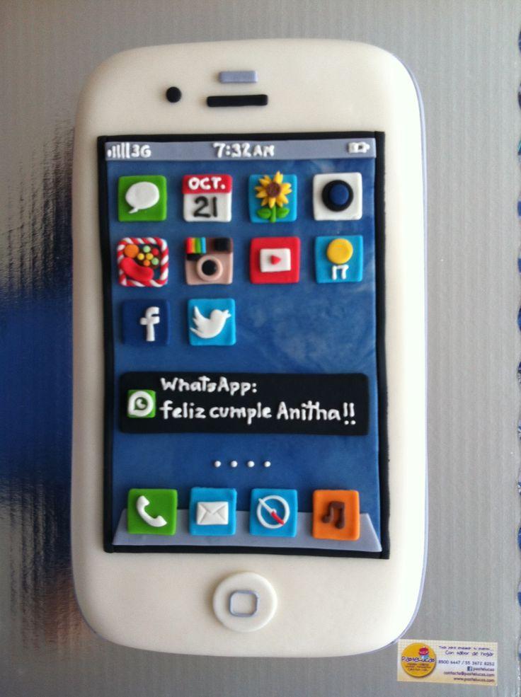 9 Fondant Cakes Apple Iphone Photo Apple Iphone Cake Iphone