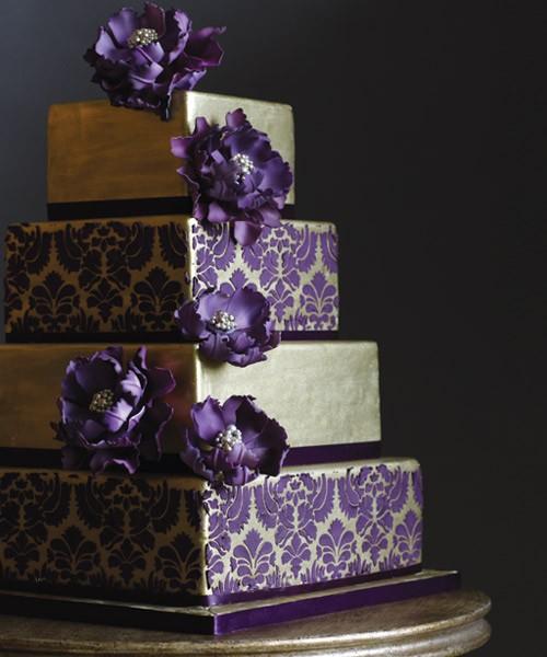13 Damask And Purple Wedding Cakes Photo - Purple and Gold Wedding ...