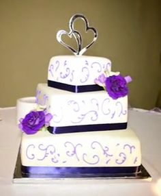Purple White And Silver Wedding Cakes - 5000+ Simple Wedding Cakes