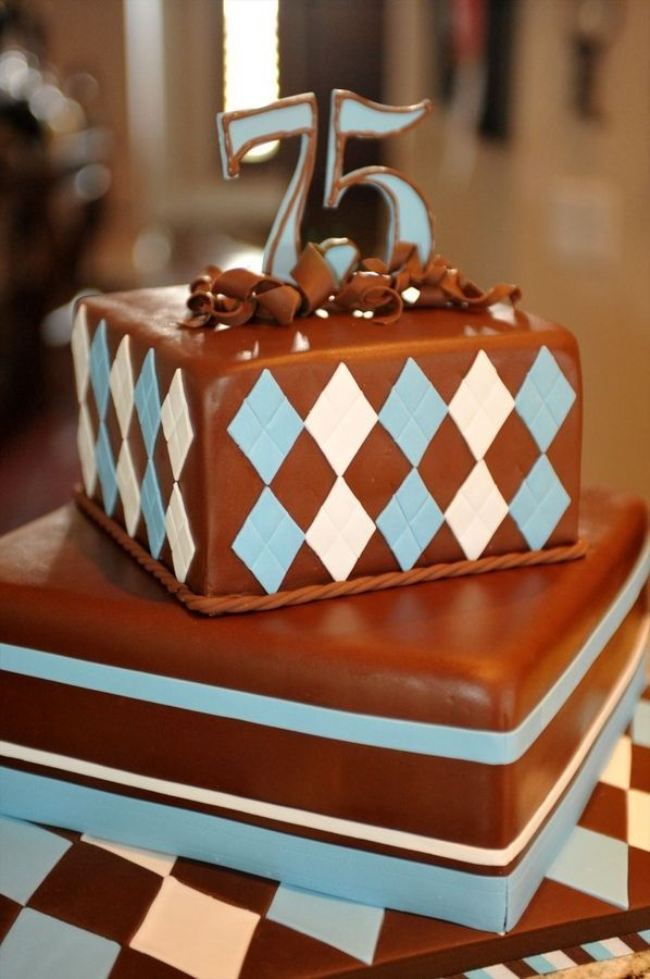 75th Birthday Cake For Men In Chocolate
