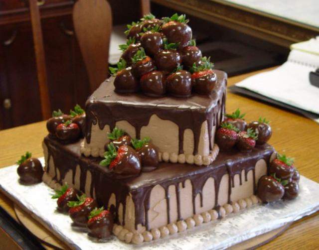 Happy Birthday Chocolate Cake With Strawberries