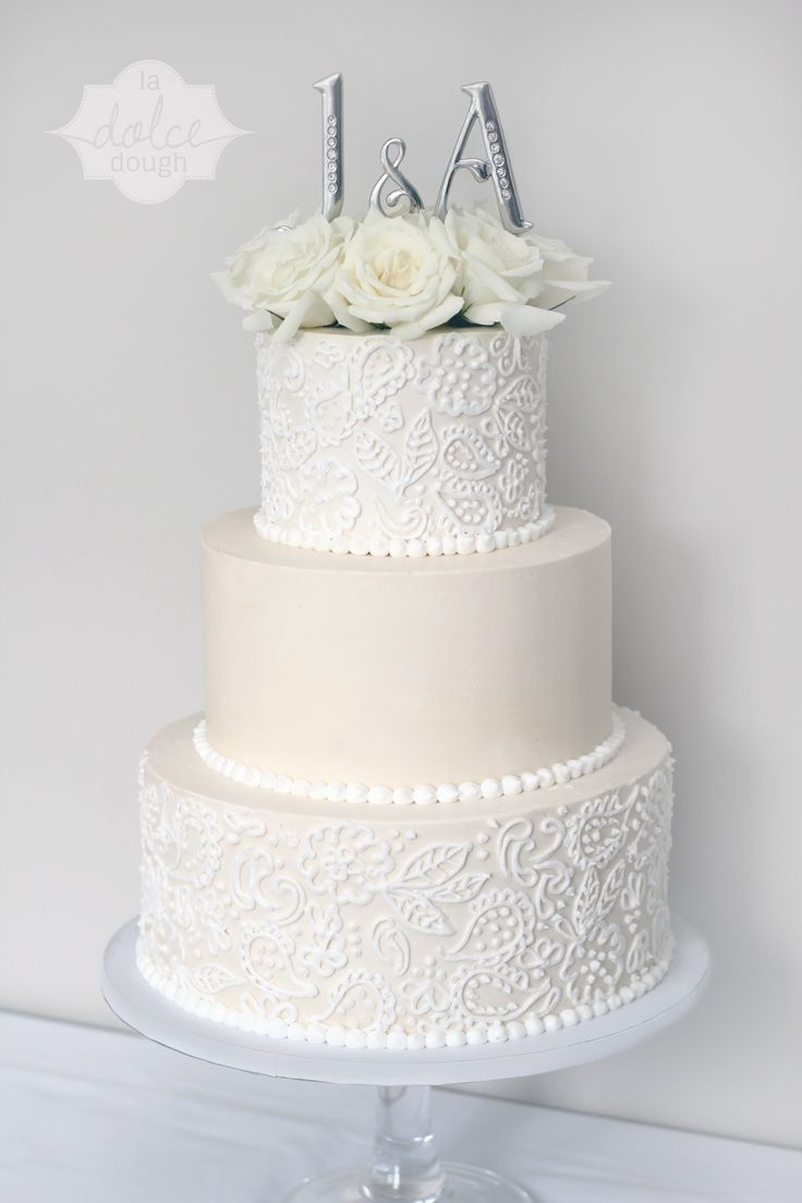 10 3 Tier Wedding Cakes Lace With Ribbon And Icing Photo Three