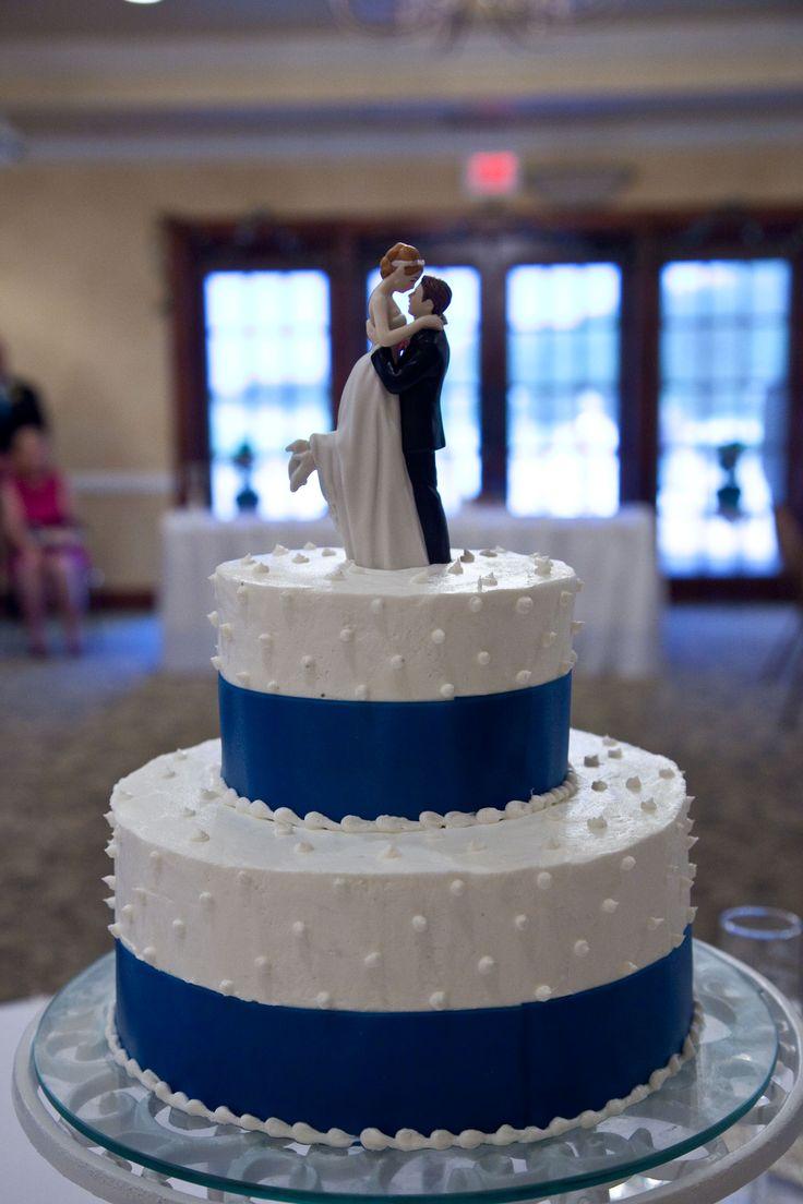 Royal Blue Wedding Cake With Ribbon