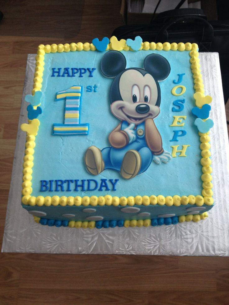 Sensational 11 Baby Mickey Mouse Birthday Cakes Photo Baby Mickey 1St Funny Birthday Cards Online Aboleapandamsfinfo