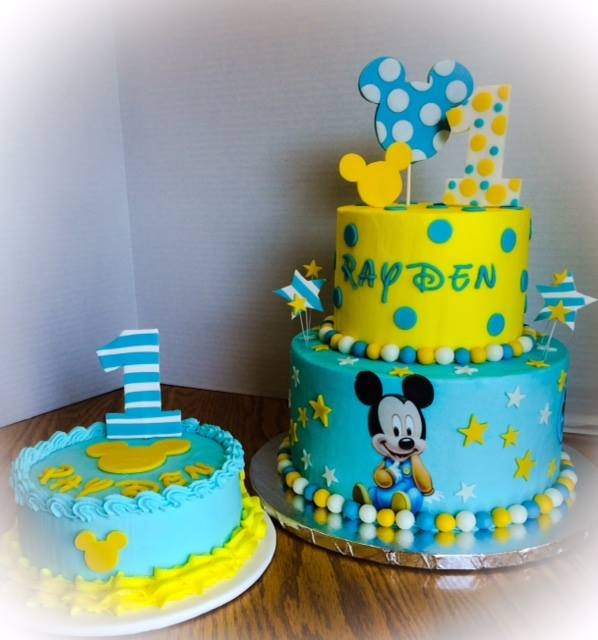 Amazing 11 Baby Mickey Mouse Birthday Cakes Photo Baby Mickey 1St Funny Birthday Cards Online Alyptdamsfinfo