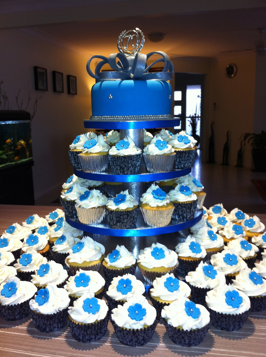 Blue And Silver Birthday Cakes