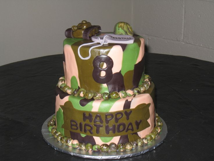 Fantastic 10 Camouflage Hunting Birthday Cakes For Boys Photo Camouflage Funny Birthday Cards Online Overcheapnameinfo