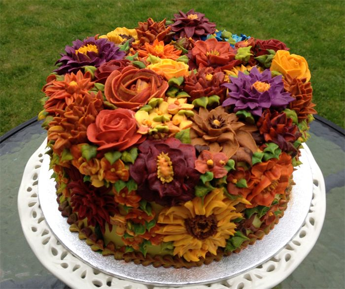 Stupendous 12 Fall Buttercream Birthday Cakes Photo Fall Birthday Cakes Funny Birthday Cards Online Aboleapandamsfinfo