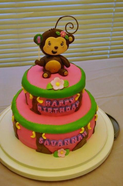 11 Girl Monkey First Birthday Cakes Photo Little Girl Monkey