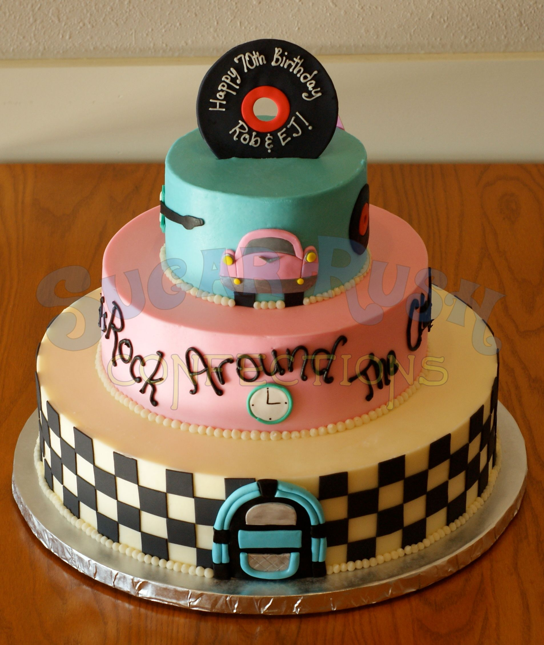 50s Theme Birthday Cake