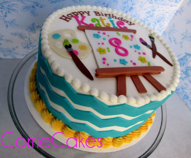 Art Paint Themed Birthday Cake