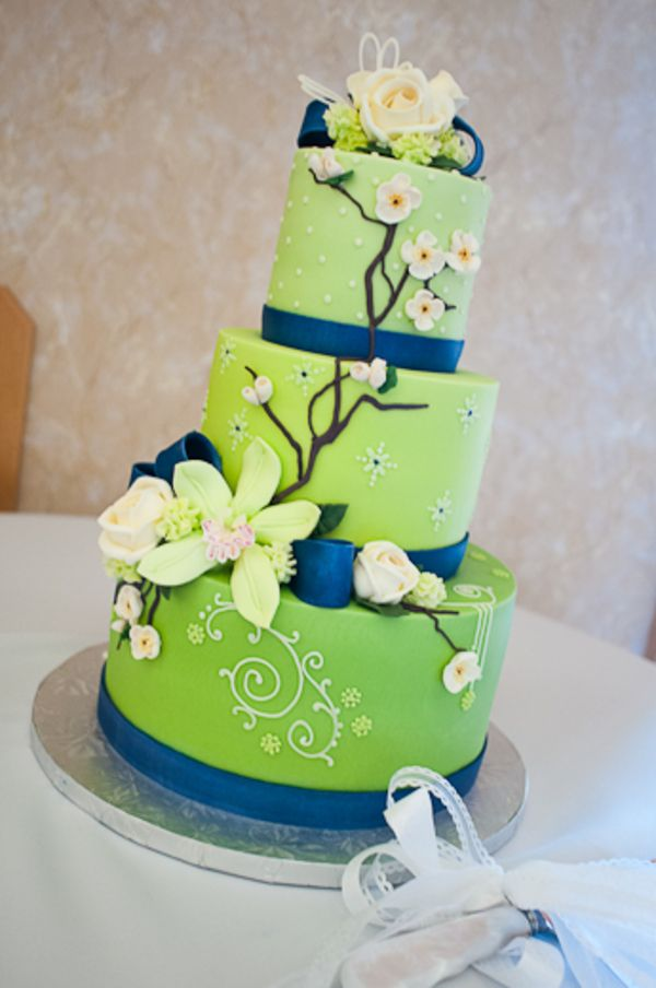 11 Navy And Green Wedding Cakes Photo - Lime Green and Blue Wedding ...