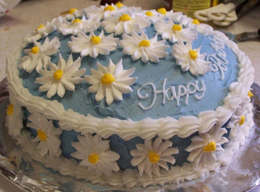 Awesome 11 Daisy Happy Anniversary Cakes Photo Happy Birthday Daisy Cake Funny Birthday Cards Online Elaedamsfinfo