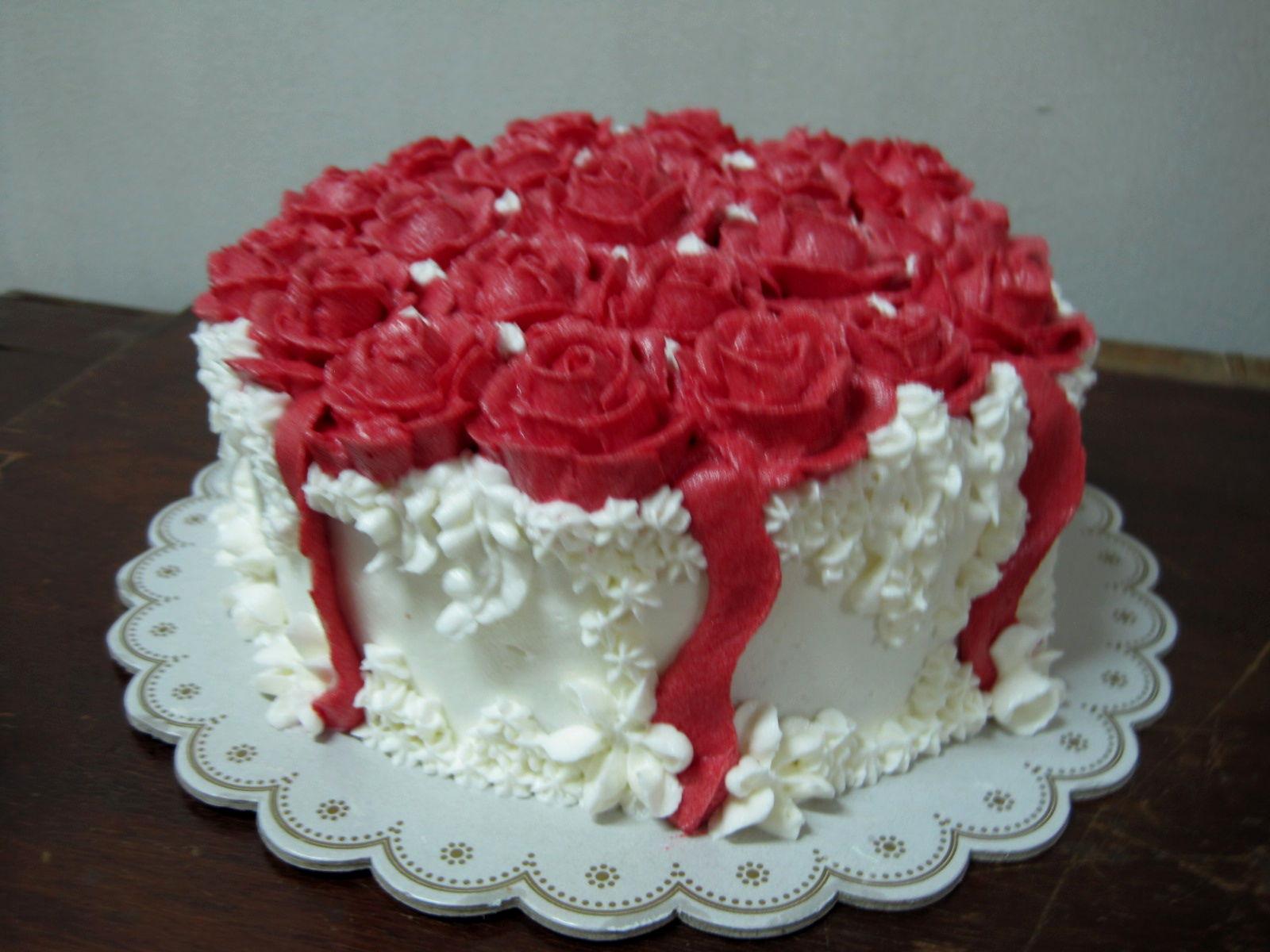 12 Red White Roses Birthday Cakes Photo Happy Birthday Red Cake