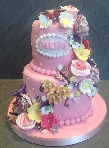 2 Tier Birthday Cake With Flowers